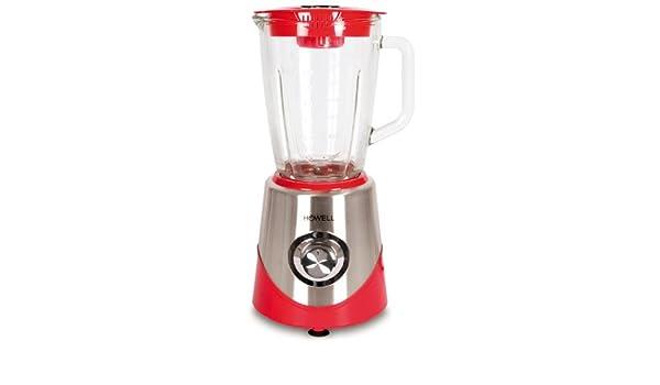 HFM6003 Batidora de vaso 1.5L 600W Metálico, Rojo, Transparente - Licuadora (Batidora de vaso, 1,5 L, Metálico, Rojo, Transparente, Acero inoxidable, ...