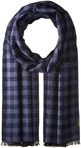 Ben Sherman Men's Woven Check Scarf, Navy, One Size