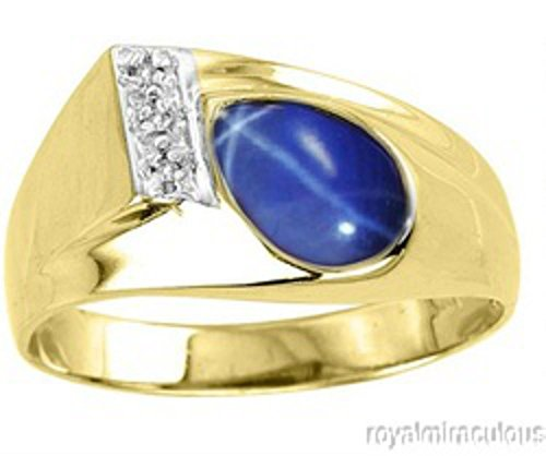 Diamond-Simulated-Blue-Star-Sapphire-Ring-Sterling-Silver-or-Yellow-Gold-Plated-Silver