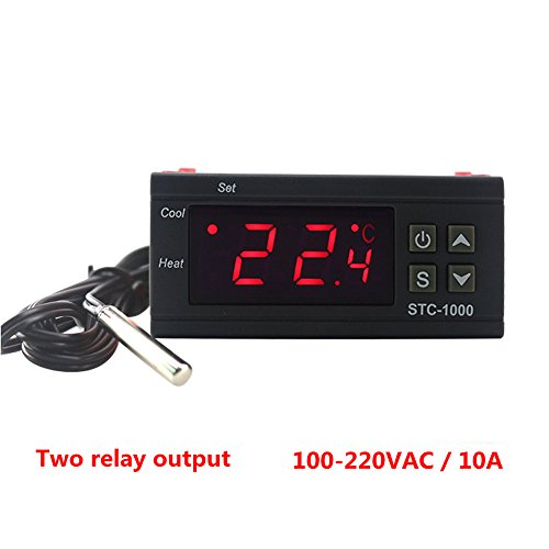KETOTEK STC-1000 Digital Temperature Controller Digital LED Temperature Controller 110V 220V Thermostat Sensor 2 Relay Outpu