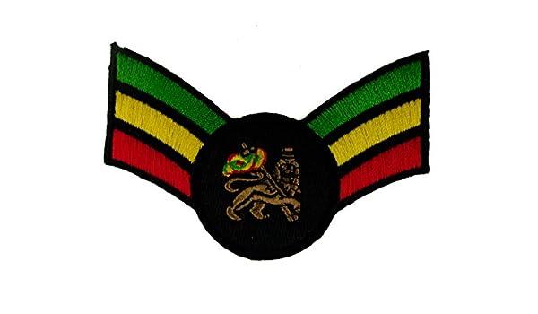 Rayas León de judá Rastafari Rasta Reggae hierro en parche: Amazon ...