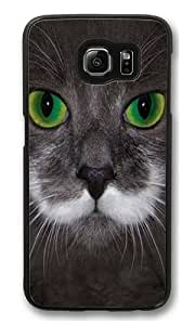 Big Face Hamilton The Hipster Cat PC Case Cover for Samsung S6 and Samsung Galaxy S6 Black