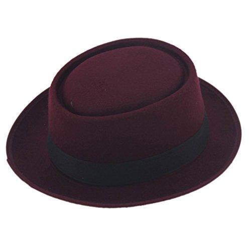 Elee Unisex Felt Pork Pie Cap Porkpie Hat Upturn Short Brim Black Ribbon Band (Wine Red)