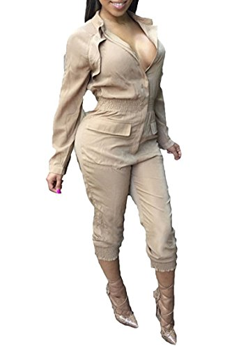 Women Turn Dwon Collar Long Sleeve Zipper Blouson Elastic Waist Long Pants Ruched Jumpsuits Medium -