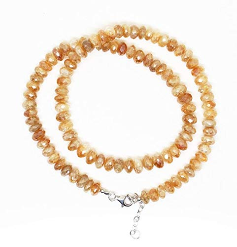 GemAbyss Beads Gemstone Top Quality Citrine Silver Cotted Faceted Roundel Beads Necklace 8-9mm/18 Inch Full Strand Super Quality Beads Necklace/November Birthstone Code-MVG-2176