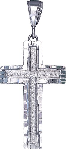 Jesus Sterling Silver Charm (Sterling Silver Cross without Jesus Pendant Necklace Diamond Cut Finish and Chain (Without Chain))