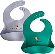 Yaana Banana 100% Silicone Baby Bibs for Babies & Toddlers, Waterproof, Easy-Wipe Clean, Adjustable Snaps,