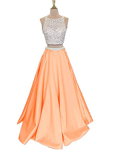 orange satin prom dress - 1