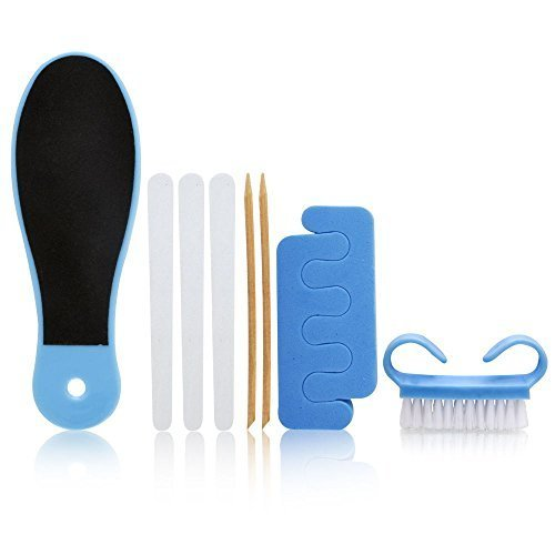 (Spa Sister Spoiled Girl Need to Pedi Deluxe 8 Piece Set - Blue 8 Piece Set Includes: Foot File + Nail Brush + Cuticle Sticks + Emery Boards + Toe Separators)