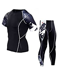 Bmeigo Men Compression T-Shirt Leggings Sport Tops Pants Run Gym Clothing Set