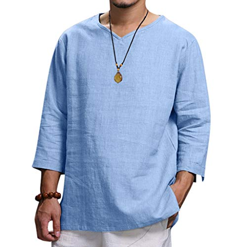 (NUWFOR Men's Summer New Pure Cotton and Hemp Top Comfortable Fashion Blouse Top(Blue,US L Chest:46.46