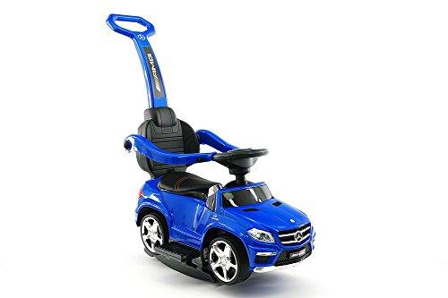 BLUE Licensed Mercedes Kid Ride On toy push car stroller child toddler Wagon LED lights handle