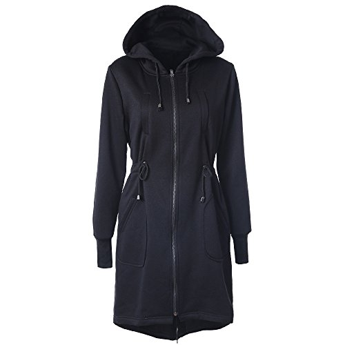 MIRRAY Womens Ladies Coats Autumn Winter Warm Long Sleeve Drawstring Hooded Hoodies Outerwear Full Zipper Slim Fit Belted Long Jacket Large Size Loose Long Outwear with Pockets Black