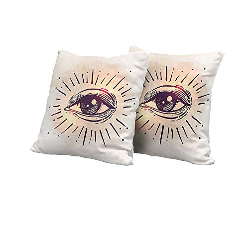Body Pillowcase Eye,Hand Drawn Style Artwork Gaze of an Elderly Man Spiritual Vision Retro Style,Peach Eggplant Yellow Square Euro Sham Cushion Cover 20x20 INCH 2pcs