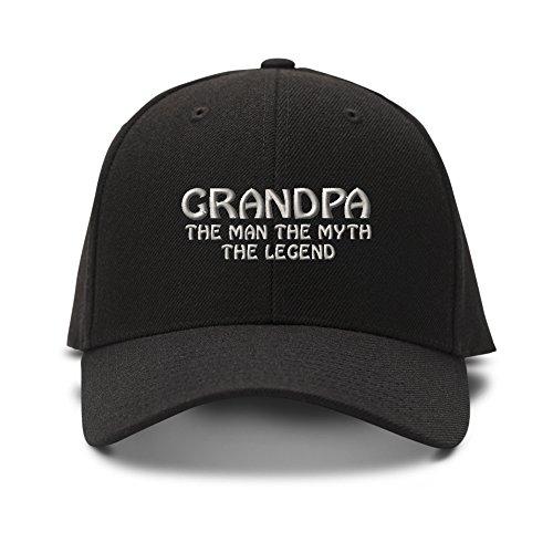 Baseball Cap Grandpa Man Myth Legend Embroidery Acrylic Dad Hats for Men & Women Strap Closure Black 1 Size