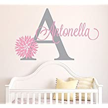 Wall Decal Letters Personalized Flowers Name Wall Decal - Girls Kids Room Decor - Nursery Wall Decals - Flower Decals For Girls Room (40Wh)for Living Room