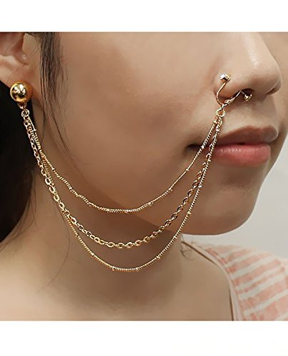 - Pierced Ball Stud Earring To Clip On Nose Hoop Ring w/ Triple Strand Chain in Gold-Tone