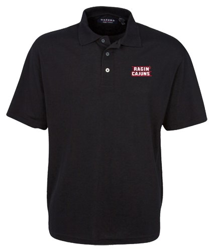 (Oxford NCAA Men's Louisiana Lafayette Ragin' Cajuns 3-Button Polo With Hemmed Sleeves (Black, Large))
