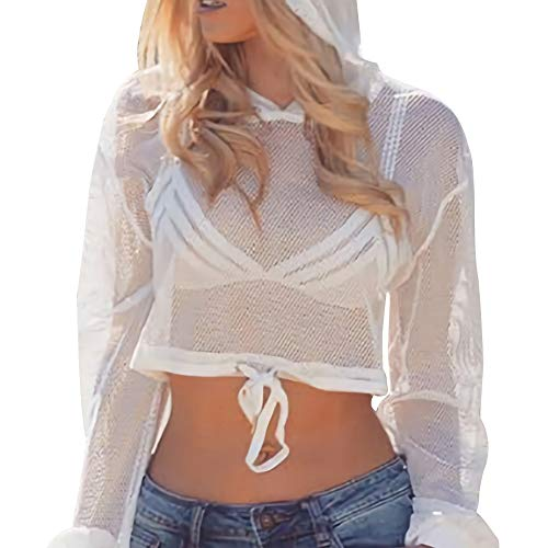 (Velius Womens Sexy Mesh Fishnet Hollow Out Long Sleeve Crop Top Hooded Shirts (Small, White)