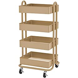 ECR4Kids 4-Tier Metal Rolling Utility Cart - Heavy Duty Mobile Storage Organizer, Sand