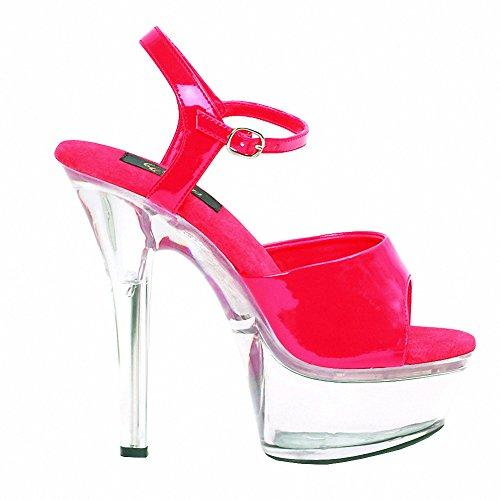 Sandali Con 6 Talloni Sexy A 6 Talloni Donna Elegante Di Ellie 601-juliet-c Con Fondo Trasparente Rosso Su Trasparente