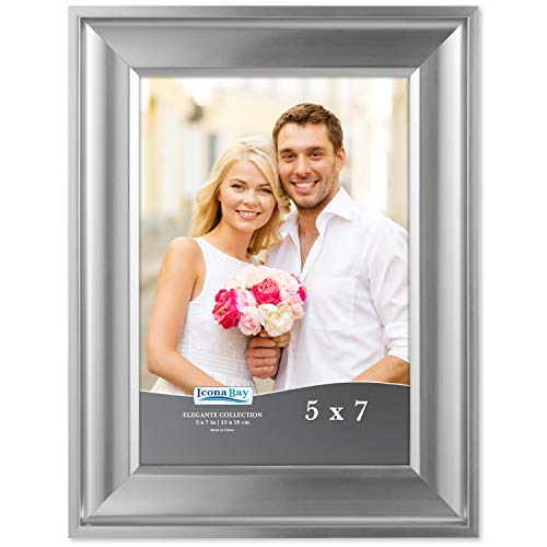 Icona Bay 5x7 Picture Frame (1 Pack, Silver), Silver Photo Frame 5 x 7, Wall Mount or Table Top, Set of 1 Elegante Collection