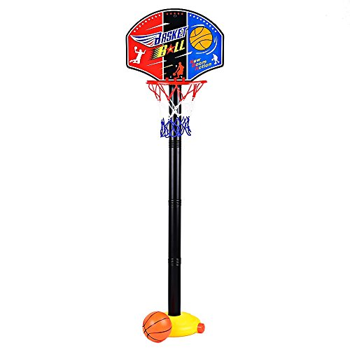 YOOYOO Kids Adjustable Basketball Hoop Basketball Set with Inflator Pump