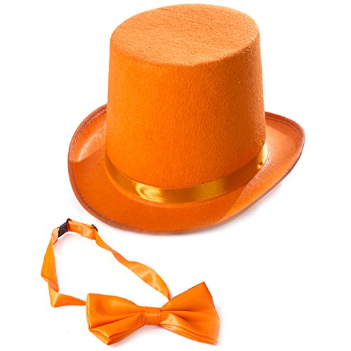 - Tigerdoe Orange Top Hat - Top Hat with Bow Tie - Adult Costume Set - Costume Hats (Orange)