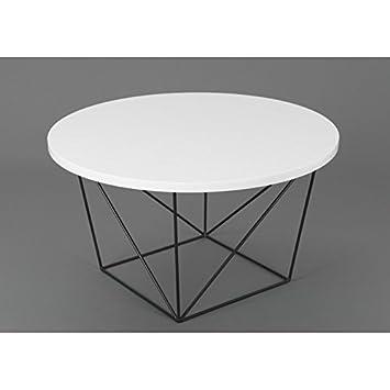 Amadeus Table Basse Ronde Design Moderne Glossy Pieds Metal Noir Et