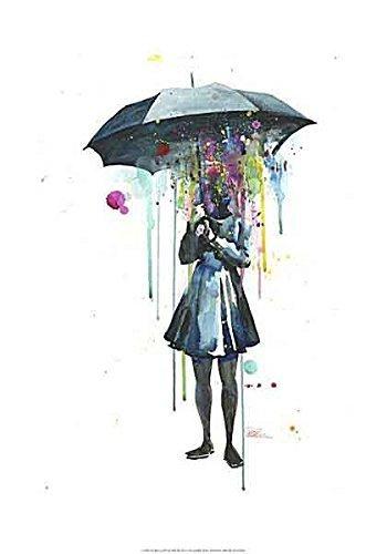Rainy by Lora Zombie Fantasy Odd Weird Umbrella Color Figurative Print Poster