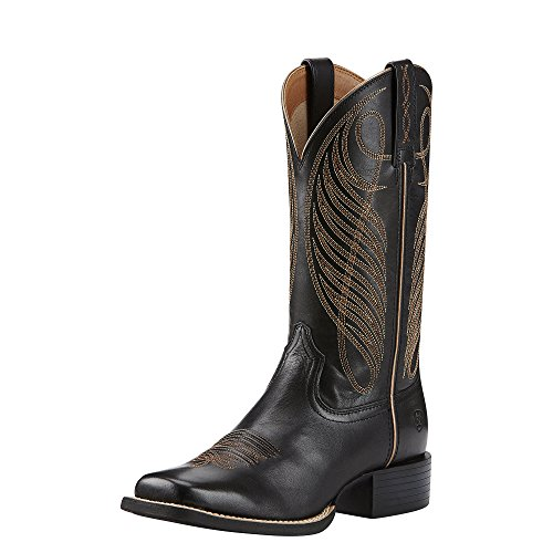 Ariat Women's Round Up Wide Square Toe Western Cowboy Boot, Limousine Black, 9 B US