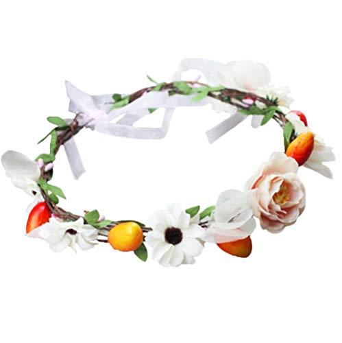 Vivivalue Flower Wreath Crown Boho Flower Headband Hair Garland Floral Headpiece Halo with Ribbon Wedding Party Festival Photos Orange -