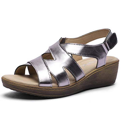 CINAK Womens Wedge Sandals Velcro Shoes-Comfort Platform Hook and Loop Summer Flats Ladies Slip On Silver ()