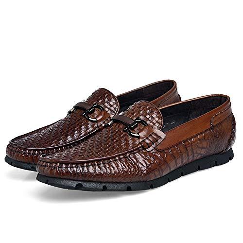 Genuino tip Qiusa De color Rojo U Hombres Cuero Negocios Para Eu Confort Tamaño 44 Rojo Antideslizantes Zapatos Buckle wnrrWq0RX