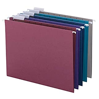 Smead Colored Hanging File Folder with Tab, 1/5-Cut Adjustable Tab, Letter Size, Assorted Jewel Tone Colors, 25 per Box (64056) (B00006IF4E) | Amazon price tracker / tracking, Amazon price history charts, Amazon price watches, Amazon price drop alerts