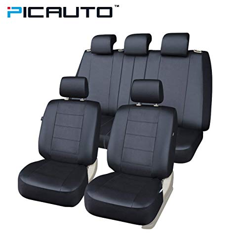 PIC AUTO Car Seat Covers Set for Auto, Truck, Van, SUV - PU Leather, Airbag Compatible, Universal Fit (Black 9-Pieces) (Van Pic)