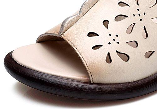 25cm La UK7 Blanquecino De ZCJB De De De Moda Tamaño Parte Blanquecino La Desgaste Plataforma Mujer Sandalias Inferior Cuero EU41 Zapatillas Color L Verano Tacón Exterior Grueso g4gwTCq