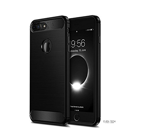 iPhone 8 Plus Case/iPhone 7 Plus Case Click-Tech Elegant Black Carbon Fiber Shock Absorption Shockproof Flexible case TPU Full Protective Scratch Resistant Cover for Apple iPhone 8 Plus Case ()
