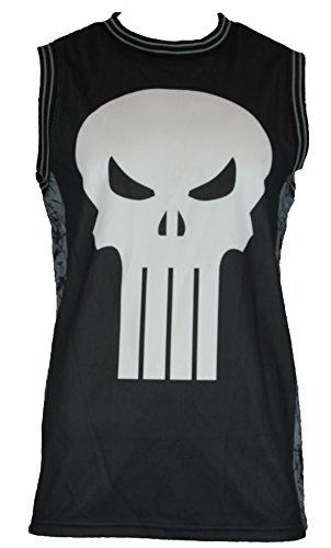 Punisher (Marvel Comics) Mesh Basketball Jersey - Castle Logo Image (Extra Large) Black