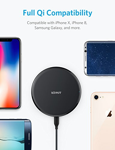 Large Product Image of Anker Wireless Charger, Qi-Certified Ultra-Slim Wireless Charger for iPhone X, iPhone 8/8 Plus, Samsung S9/S9+/S8/S8+/S7/Note 8 and More, PowerPort Wireless 5 Pad (AC Adapter Not Included)