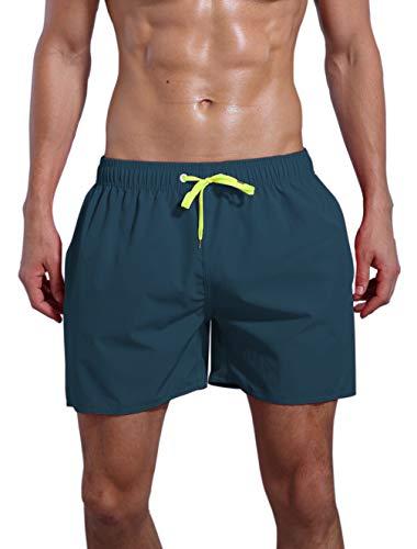 QRANSS Men's Quick Dry Swim Trunks Bathing Suit Beach Shorts (Dark Blue, Large / 38-40 Waist)