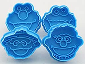 """Sesame Street (4-Set) 2"""" Mini Birthday Party Favor Cookie Cutter Set Featuring Cookie Cutters of Elmo, Ernie, Cookie Monster and Oscar the Grouch"""