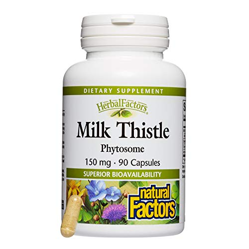 HerbalFactors by Natural Factors, Milk Thistle Phytosome, Promotes Healthy Liver Function with Dandelion and Turmeric, 90 Capsules (90 Servings)