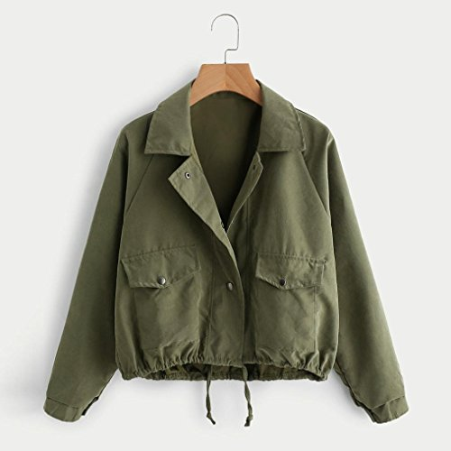 Jackets Coat Ladies Green Spring Single Buttons Jackets Down Casual Short Autumn Jackets For Coats Cardigan Big Unique Loose Solid Pockets Collar Fashion Women's Turn dXCxzBqx