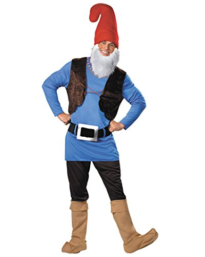 Blue Gnome Costume Tunic Vest Pants Boot Covers and Hat Beard Mens Theatrical Sizes: X-Large]()