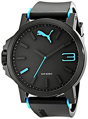 PUMA Men's PU102941001 Ultrasize Analog Display Left-Handed Black/White Sport Watch