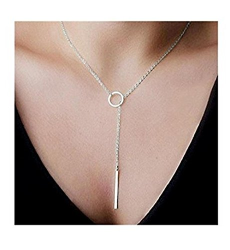 Price comparison product image Y Type Open Circle Layering Karma Dangling Charming Dainty Skinny Drop Clavicle Necklace
