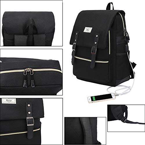 Unisex College Bag Fits up to 15.6'' Laptop Casual Rucksack Waterproof School Backpack Daypacks (AllBlackWithUSB) by Ronyes (Image #2)