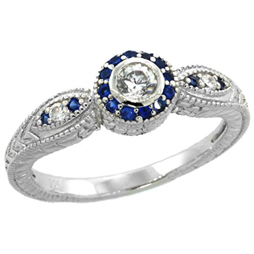 Sterling Silver Zirconia Engagement Sapphire