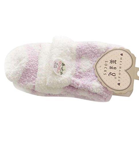Sagton Women Warm Casual Comfort Coral Cashmere Calze Invernali Calzini Slipper Viola Chiaro